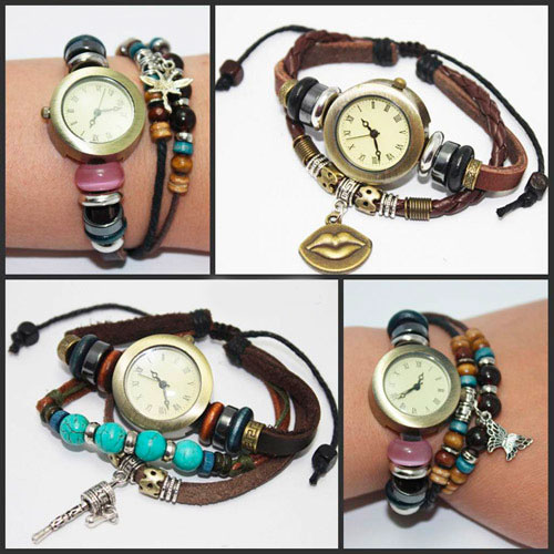 DHL-shipping-4-styles-ladies-vintage-Retro-charm-bracelet-Rome-quartz-wholesale-genuine-cow-leather-fashion