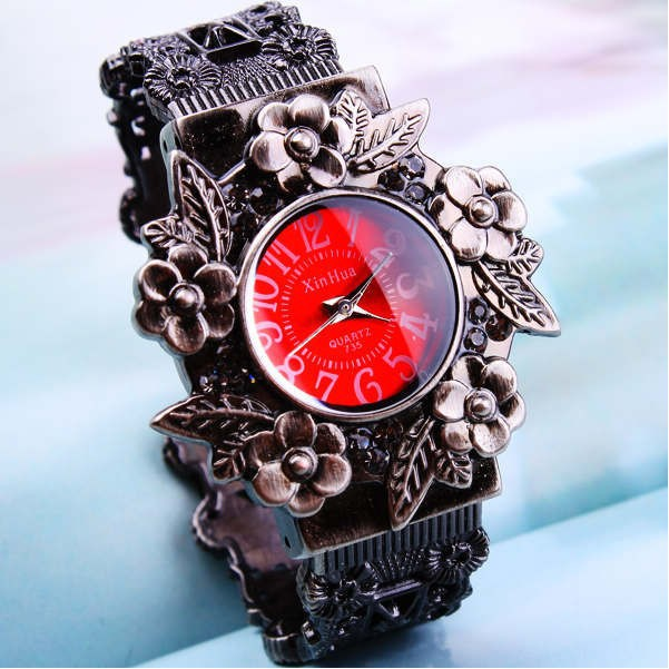 Red-2013-New-arriver-Fashion-vintage-flower-quartz-bangles-watch-women-ladies-Free-shipping