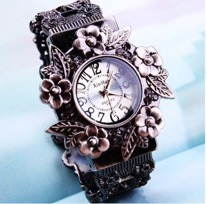White-2013-New-arriver-Fashion-vintage-flower-quartz-bangles-watch-women-ladies-Free-shipping