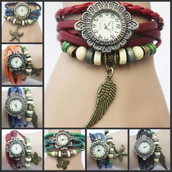 Wholesale-70pcs-lot-New-arrival-Fashion-vintage-retro-beaded-braided-rope-bracelet-wrap-quartz-cow-leather